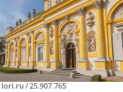 Купить «Front view of Wilanow Royal Palace. The palace was built in the years 1681-1696 for King Jan III Sobieski. Warsaw, Poland.», фото № 25907765, снято 26 марта 2019 г. (c) BE&W Photo / Фотобанк Лори