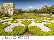 Купить «Ornamental east garden in Wilanow Royal Palace, Warsaw Poland», фото № 25907769, снято 25 марта 2019 г. (c) BE&W Photo / Фотобанк Лори