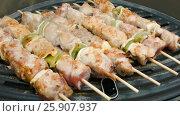 Купить «Turkey meat on sticks flips on a grill», видеоролик № 25907937, снято 31 октября 2016 г. (c) Дебалюк Александр Владимирович / Фотобанк Лори