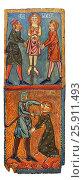 Купить «Gothic painted wood panels with scenes of the Martyrdom of Saint Lucy. Circa 1300. Tempera on wood. Date Circa 1300. Dimensions 66 x 25. 8 x 2 cm. From...», фото № 25911493, снято 4 сентября 2013 г. (c) age Fotostock / Фотобанк Лори