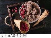 Chocolate ice cream with raspberries. Стоковое фото, фотограф Natasha Breen / Фотобанк Лори