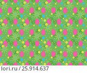 Easter Pattern - red eggs on green background. Стоковая иллюстрация, иллюстратор Анастасия Кононенко / Фотобанк Лори