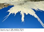 Наледь и сосульки на скалах на острове Ольхон, озеро Байкал. Стоковое фото, фотограф Овчинникова Ирина / Фотобанк Лори