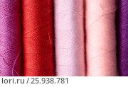 Купить «row of colorful thread spools on table», фото № 25938781, снято 29 сентября 2016 г. (c) Syda Productions / Фотобанк Лори