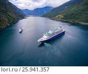Купить «Cruise Ship, Cruise Liners On Sognefjord or Sognefjorden, Norway», фото № 25941357, снято 26 июля 2016 г. (c) Андрей Армягов / Фотобанк Лори
