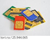 Купить «Сим-карты», фото № 25944065, снято 10 апреля 2017 г. (c) Sashenkov89 / Фотобанк Лори
