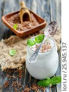 Купить «Homemade yogurt and flax seeds», фото № 25945137, снято 15 марта 2017 г. (c) Марина Сапрунова / Фотобанк Лори