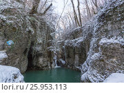 Купить «Russia, Sochi. River Agura in the winter. View of falls and cave.», фото № 25953113, снято 26 января 2016 г. (c) Иван Аборнев / Фотобанк Лори