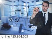 Купить «Composite image of serious businessman writing with marker», фото № 25954505, снято 19 февраля 2019 г. (c) Wavebreak Media / Фотобанк Лори