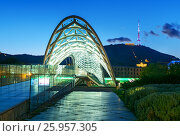 Купить «Bridge of Peace at night in Tibilisi, Georgia», фото № 25957305, снято 24 сентября 2016 г. (c) Elena Odareeva / Фотобанк Лори