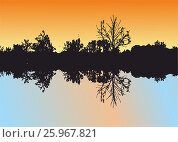 The reflection of nature and trees in water. Стоковая иллюстрация, иллюстратор Ирина / Фотобанк Лори