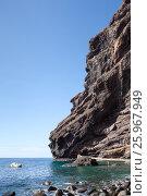 Купить «Причал для посадки туристов на катер. Скалы Los Gigantes. Место выхода к океану пешего маршрута в ущелье Маска. Тенерифе. Канары, Испания», фото № 25967949, снято 7 января 2016 г. (c) Кекяляйнен Андрей / Фотобанк Лори