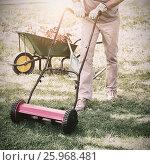 Купить «Smiling man mowing lawn», фото № 25968481, снято 18 августа 2018 г. (c) Wavebreak Media / Фотобанк Лори