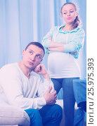 Купить «Husband and pregnant wife arguing at home», фото № 25975393, снято 18 марта 2017 г. (c) Яков Филимонов / Фотобанк Лори