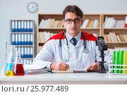 Купить «Superhero doctor working in the hospital lab», фото № 25977489, снято 21 декабря 2016 г. (c) Elnur / Фотобанк Лори