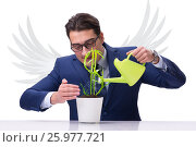 Купить «Angel investor growing future profits isolated on white», фото № 25977721, снято 10 декабря 2017 г. (c) Elnur / Фотобанк Лори