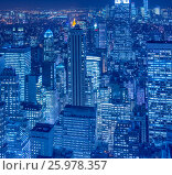 View of New York Manhattan during sunset hours (2013 год). Стоковое фото, фотограф Elnur / Фотобанк Лори