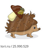 Cartoon image of a cute brown hedgehog with white-brown mushroom. Стоковая иллюстрация, иллюстратор Наталия Кречко / Фотобанк Лори