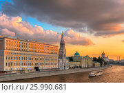 View at Moscow Kremlin  at sunset time (2015 год). Стоковое фото, фотограф Александр Новиков / Фотобанк Лори