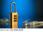 The concept of an encrypted Internet connection. Golden padlock., фото № 25996825, снято 14 апреля 2017 г. (c) Александр Якимов / Фотобанк Лори