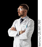 Купить «doctor or scientist in lab coat and safety glasses», фото № 25997797, снято 9 марта 2017 г. (c) Syda Productions / Фотобанк Лори