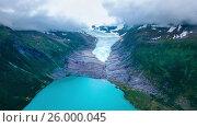 Купить «Svartisen Glacier in Norway Aerial view.», видеоролик № 26000045, снято 14 марта 2017 г. (c) Андрей Армягов / Фотобанк Лори