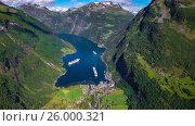 Купить «Geiranger fjord, Beautiful Nature Norway Aerial footage.», видеоролик № 26000321, снято 1 марта 2017 г. (c) Андрей Армягов / Фотобанк Лори