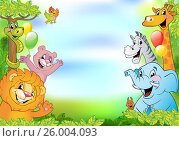 Cartoon animals, cheerful background. Стоковая иллюстрация, иллюстратор Миронова Анастасия / Фотобанк Лори
