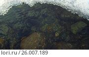 Купить «Video of closeup mooving along tracery edge of an ice floe on Altai river Katun in Spring season», видеоролик № 26007189, снято 16 марта 2017 г. (c) Serg Zastavkin / Фотобанк Лори