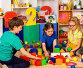 Children playing in kids cubes indoor. Lesson in primary school., фото № 26007589, снято 25 марта 2017 г. (c) Gennadiy Poznyakov / Фотобанк Лори