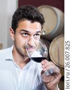 Купить «Glad man holding glass of red wine in winery section», фото № 26007825, снято 20 октября 2018 г. (c) Яков Филимонов / Фотобанк Лори