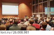 Купить «Public speaker giving talk at business event», видеоролик № 26008981, снято 5 апреля 2020 г. (c) Matej Kastelic / Фотобанк Лори