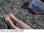 """Купить «Девушка загорает на центральном городском пляже города Ялты рядом с пакетом с надписью """"Добро пожаловать в Крым""""», фото № 26009509, снято 7 мая 2016 г. (c) Николай Винокуров / Фотобанк Лори"""