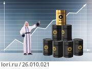 Купить «Arab businessman in oil price business concept», фото № 26010021, снято 17 июня 2019 г. (c) Elnur / Фотобанк Лори