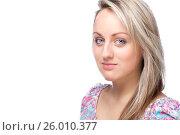 Young blonde woman portrait on white background, фото № 26010377, снято 22 января 2012 г. (c) Tatjana Romanova / Фотобанк Лори
