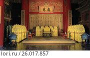 Купить «Пекин. Запретный город. Внутри павильона Цзяотайдянь», видеоролик № 26017857, снято 3 апреля 2017 г. (c) Яна Королёва / Фотобанк Лори