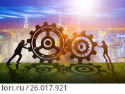 Купить «Businesspeople in teamwork example with cogwheels», фото № 26017921, снято 21 августа 2019 г. (c) Elnur / Фотобанк Лори