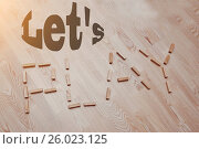 Купить «Let us play words in vintage wood letterpress blocks», фото № 26023125, снято 7 апреля 2020 г. (c) easy Fotostock / Фотобанк Лори