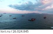 Fishing boats in the sea. South Vietnam (2016 год). Стоковое видео, видеограф Pavel Shumeiko / Фотобанк Лори