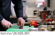 Купить «hands of male chef cook chopping onion in kitchen», видеоролик № 26025361, снято 23 мая 2019 г. (c) Syda Productions / Фотобанк Лори