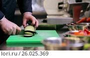 Купить «hands of male chef chopping eggplant in kitchen», видеоролик № 26025369, снято 7 июля 2020 г. (c) Syda Productions / Фотобанк Лори