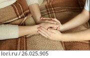 Купить «The child tenderly embraced my mother's hands. full hd video», видеоролик № 26025905, снято 20 апреля 2017 г. (c) Олег Башкир / Фотобанк Лори