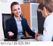 Купить «employee having job interview», фото № 26025961, снято 28 марта 2020 г. (c) Яков Филимонов / Фотобанк Лори