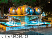 Ночной вид на фонтан в парке фонтанов. Баку. Азербайджан, фото № 26026453, снято 27 сентября 2016 г. (c) Евгений Ткачёв / Фотобанк Лори