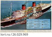 Sectional view of the Queen Elizabeth. Стоковое фото, фотограф IMechE \ UIG / age Fotostock / Фотобанк Лори