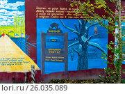 Купить «Россия, Боровск, улица Энгельса, картина на заборе жилого дома», фото № 26035089, снято 16 января 2019 г. (c) glokaya_kuzdra / Фотобанк Лори