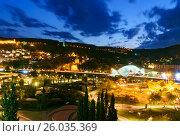 Купить «View of Rike Park with Bridge of Peace at night. Tbilisi, Georgia», фото № 26035369, снято 26 сентября 2016 г. (c) Elena Odareeva / Фотобанк Лори