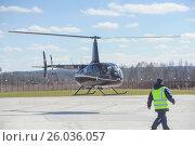 """Купить «Вертолет ВПСО """"Ангел"""" идет на посадку на вертодроме """"Горка""""», фото № 26036057, снято 15 апреля 2017 г. (c) Сайганов Александр / Фотобанк Лори"""