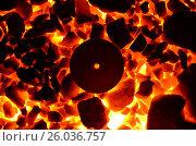 Купить «Горящий каменный уголь и раскаленный металлический круг с отверстием», фото № 26036757, снято 15 апреля 2017 г. (c) Игорь Кутателадзе / Фотобанк Лори