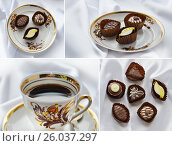 A cup of coffee and chocolate candies in a delicious plate on a white silk background. Riga service. (2016 год). Редакционное фото, фотограф Юлия Дьякова / Фотобанк Лори